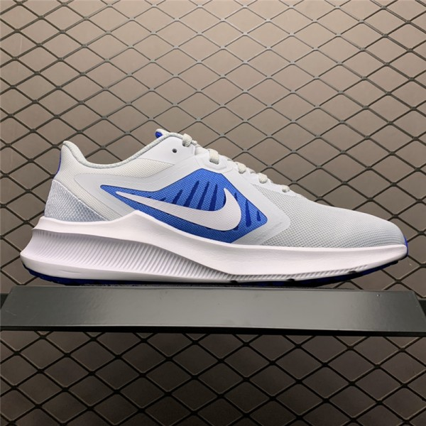 Nike Downshifter 10 Pure Platinum Grey White Blue For Men