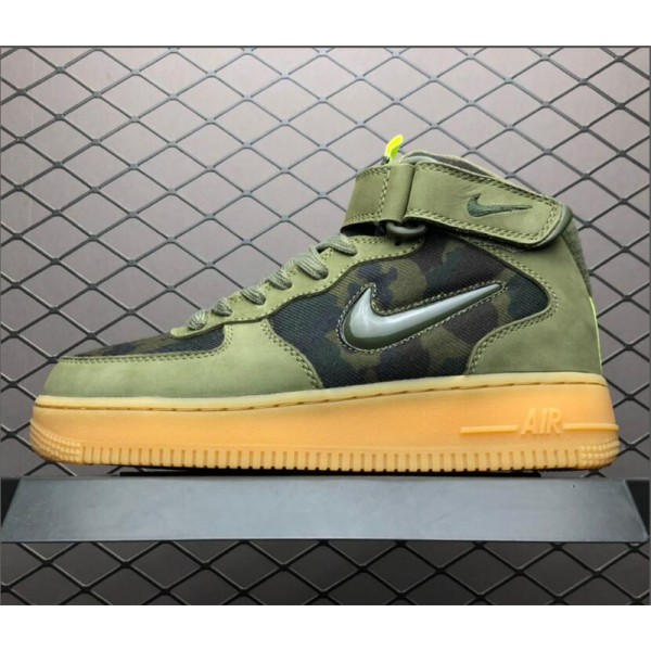 Nike Air Force 1 Mid Jewel Camo France Olive Gum