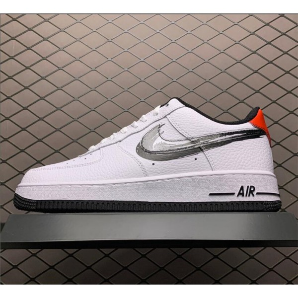 Nike Air Force 1 Low Brushstroke Swoosh White Black