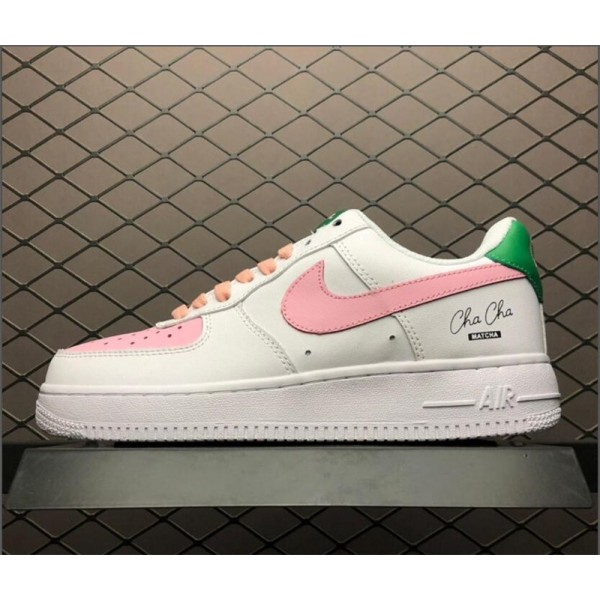 Grade School Nike Air Force 1 GS Low Pink White-Green For Women