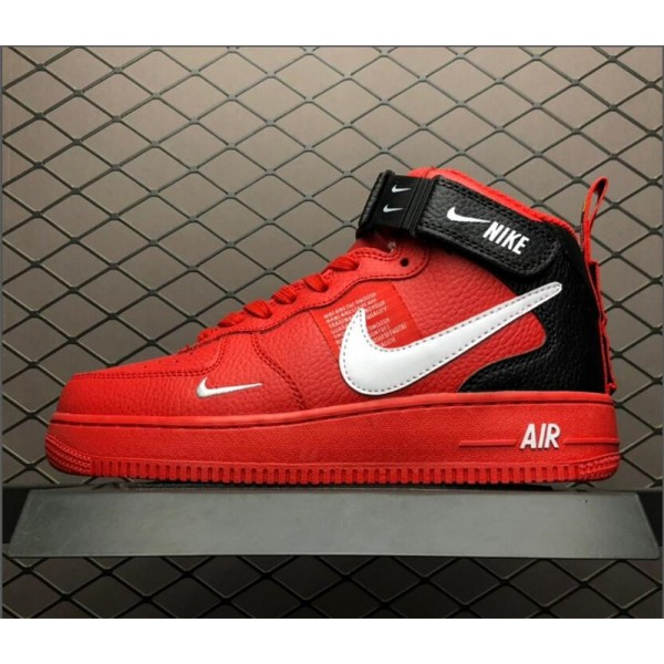 Nike Air Force 1 Mid Utility Red Black 804609-605 For Men