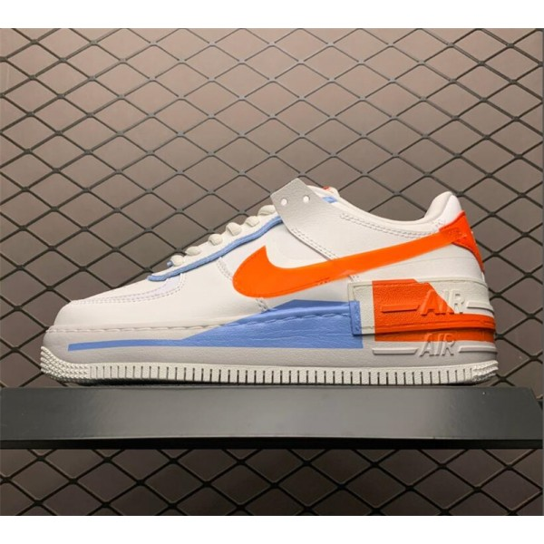 Nike Air Force 1 Shadow Summit White Light Blue-Team Orange For Women