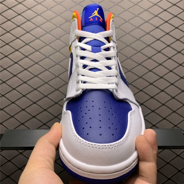 2021 Nike Jordan 1 Mid Royal Blue Laser Orange