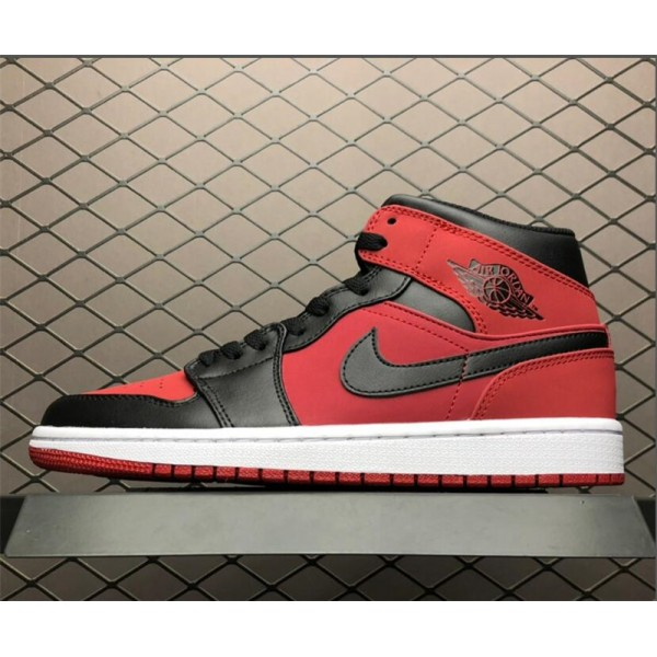 Air Jordan 1 Mid Bred Gym Red/Black-White For Men