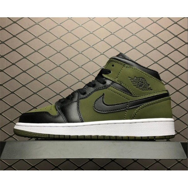 Air Jordan 1 Mid Dark Olive Canvas/Black For Women