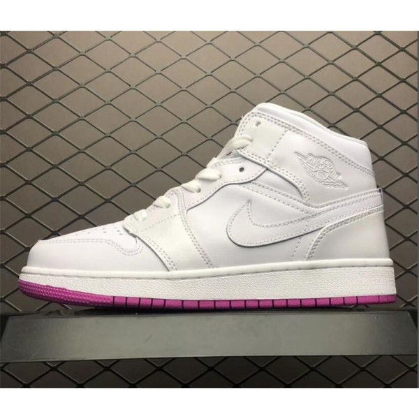 Air Jordan 1 Mid GS White/Fuchsia Blast Size For Women