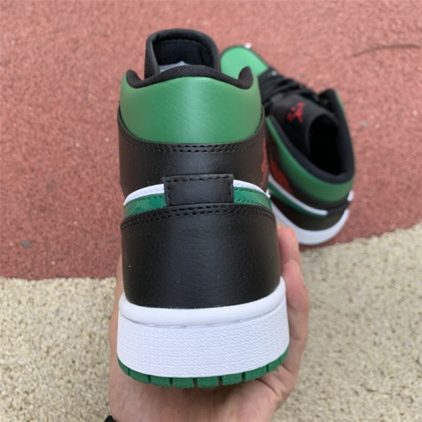 Air Jordan 1 Mid Pine Green/White-Black-University Red