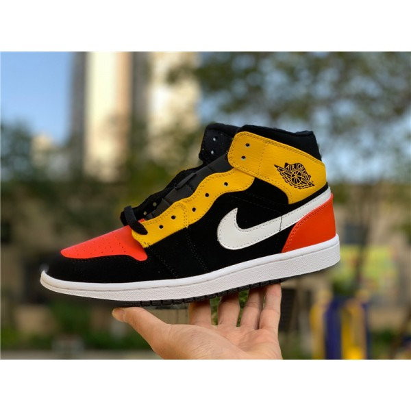 Air Jordan 1 Mid Raygun Black Amarillo Orange For Men