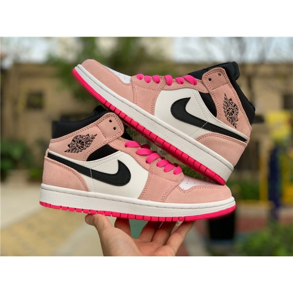 Air Jordan 1 Mid SE Crimson Tint/Hyper Pink For Women