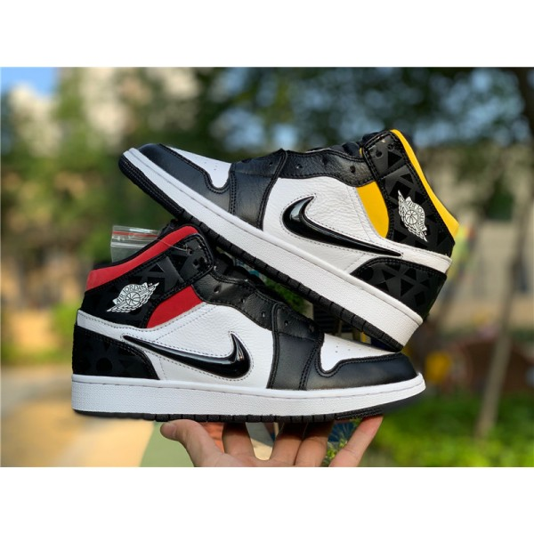 Air Jordan 1 Mid Quai 54 Black-White-Multi-Color