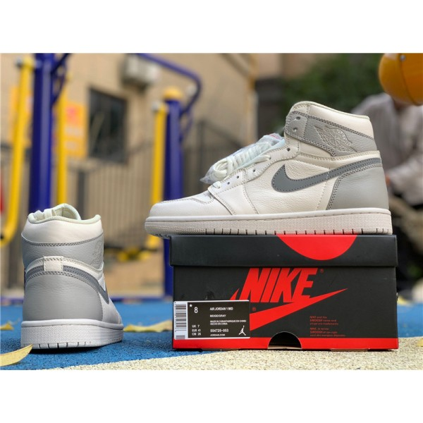 Air Jordan 1 Mid Light Bone Wolf Grey