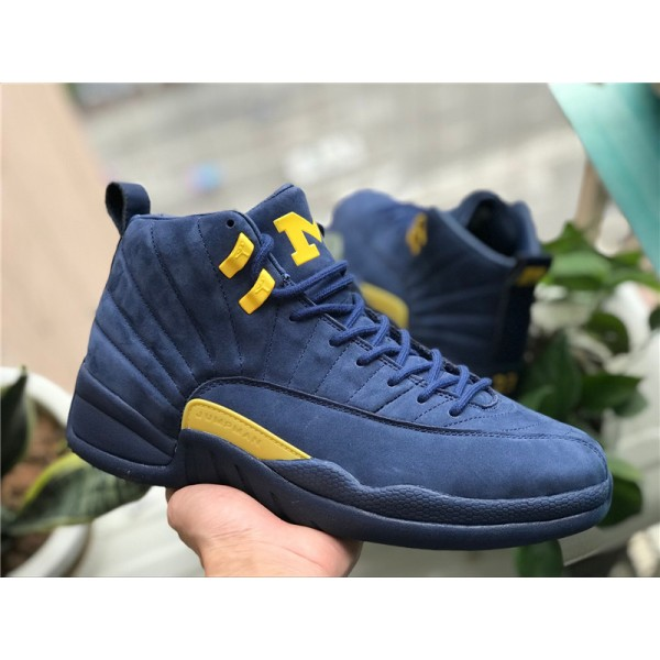 2018 Air Jordan 12 Retro Michigan College Navy/Amarillo For Men