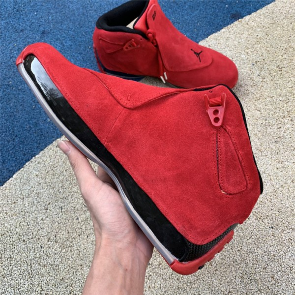 Air Jordan 18 Retro Red Suede Gym Red/Black AA2494-601 For Men