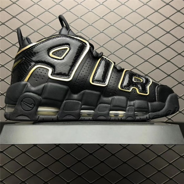 Nike Air More Uptempo 96 QS Pairs France Black Metallic Gold For Men