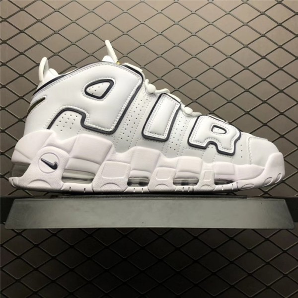 Nike Air More Uptempo White Black-Yellow Basketball Shoes