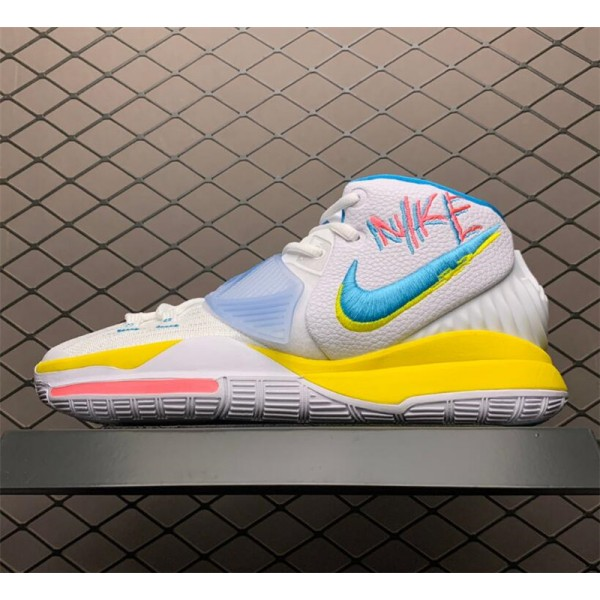 Nike Kyrie 6 Retro Logos White Blue Yellow Pink To For Men