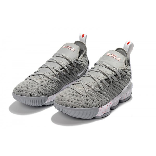 Nike LeBron 16 Wolf Grey White Basketball Shoes For Men