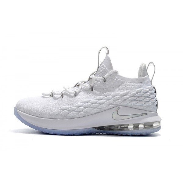 Nike LeBron 15 Low White Metallic Silver-Atmosphere Grey For Men