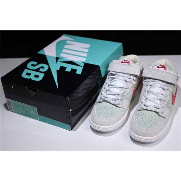 Nike SB Dunk Mid White Widow Sail Gym Red-Fresh Mint For Men
