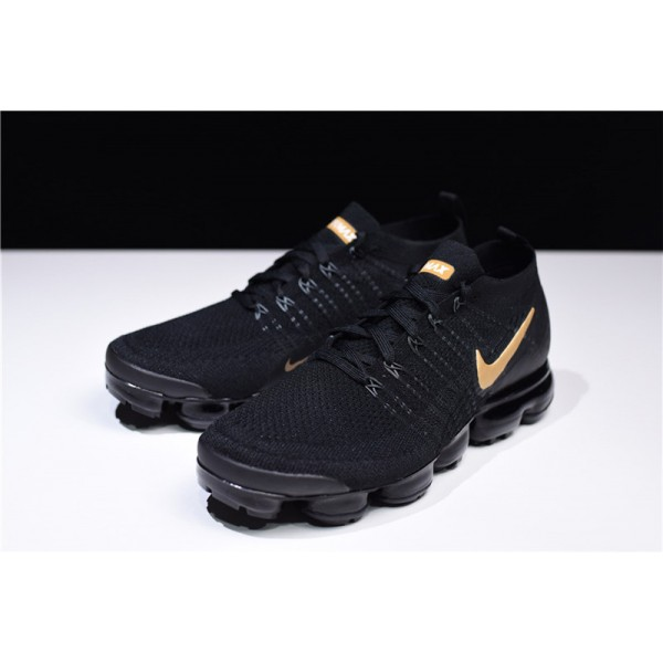 Nike Air VaporMax Flyknit 2.0 Black Gold Running Shoes For Men