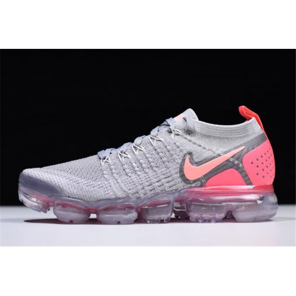 Nike Air VaporMax Flyknit 2 Atmosphere Grey Crimson Pulse For Women